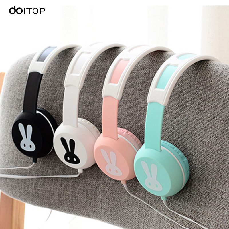 DOITOP Lovely Rabbit Headphone Wire Hifi Stereo Music Earphone Handfree Headset With Microphone For Mobile Phones MP3 MP4 Player