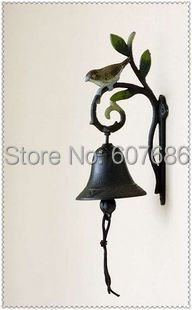 2 Pieces Antique Lmitation Cast Iron Leaf Bird Welcome Dinner Bell Wall Hanging Decorative Craft Hand Painted Outdoor Free Ship