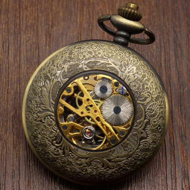 Black& White Dial Pocket Watch Hollow Bronze Mechanical Hand Wind Pocket Chain Mechanical Pocket Watch