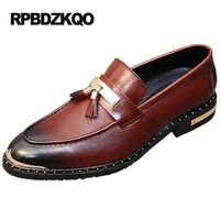 Stud Rivet Burgundy Genuine Leather Loafers Party European Tassel Real Metal Tip Black Men Italy Casual