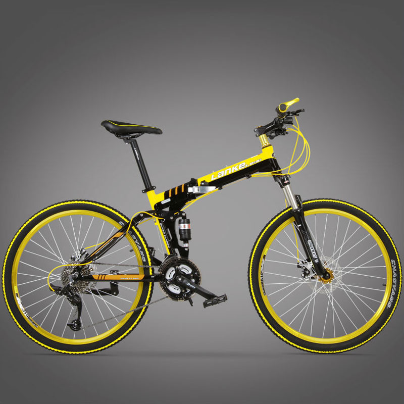 Cyrusher G8 Folding Mountain Bike 21 Speeds 17x26 Inch mountain bicycle Full Suspension Frame Double Disc Brakes road bike