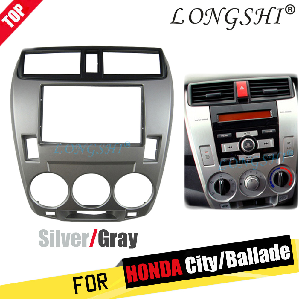 2Din Car Radio Fascia for 2008-2014 Honda City Ballade Manual AC Panel Plate CD Trim Panel Stereo Dash Kit Installation 2 din недорого
