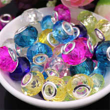 20Pcs Lot New Color Cut Faceted Shape Big Hole Crystal Glass Beads Charm Fit Pandora Bracelet Necklace Chain for Jewelry Making 10pcs hot cut faceted color crystal glass beads fit european bracelet spacer original pandora charm bracelet for jewelry making