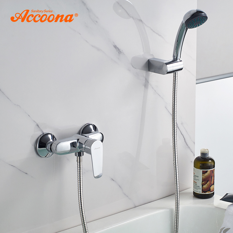 Accoona Bathtub Faucet Mixed Water Valve Hot And Cold Nordic Chrome Triple Bath Shower Faucet Bathroom Shower Faucets A8065 цена 2017