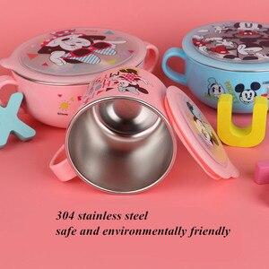 Image 3 - 6 조각 디즈니 어린이 식기 세트 어린이 보조 요리 그릇 아기 먹이 미키 미니 우유 컵 젓가락 스푼 포크 세트