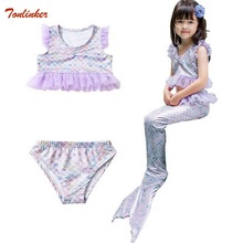 3pc Children Mermaid Tail Costumes Kids Swimming Swimwear Bikini Swimsuit Flipper For girls Ruffle Sleeve 2019 New