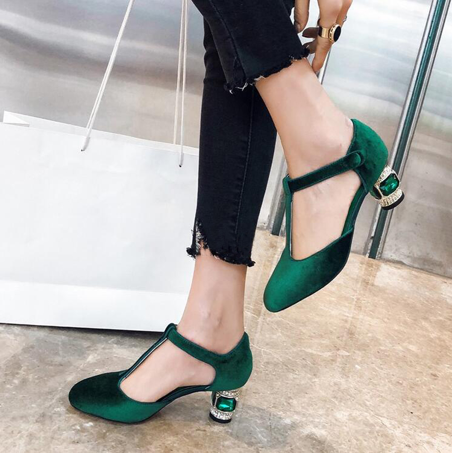 Prova Perfetto T schnalle seltsame stil ferse frauen pumpt runde kappe kristall jewel high heels damen kleid party hochzeit schuhe - 3