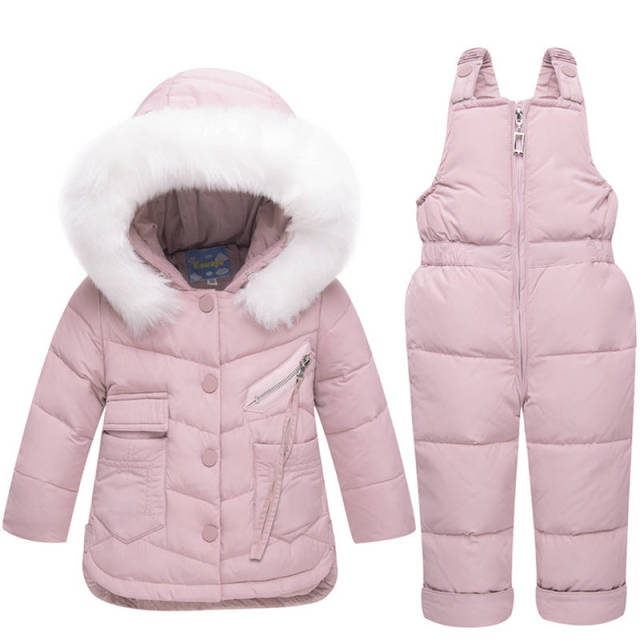 cc827c6ce317 2018 Winter Children s Clothing Set Baby Girl Winter Jumpsuit Down ...