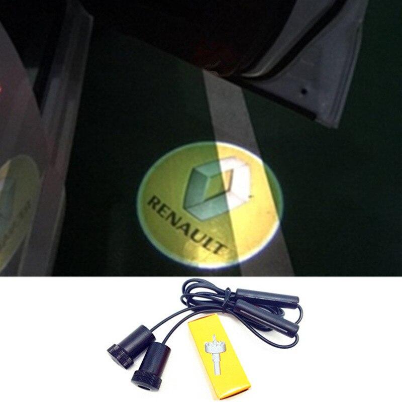 Voiture Porte Lumière Projecto Logo LED Pour Renault Logan Megane Safrane Sandero Laguna Koleos Kangoo Express Euro Clio Duster Fluence