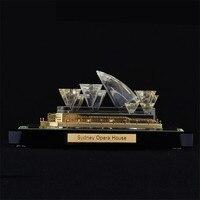 Сиднейский оперный театр Кристалл ручной работы золото модель здания украшения дома фигурки миниатюры известный достопримечательность ар