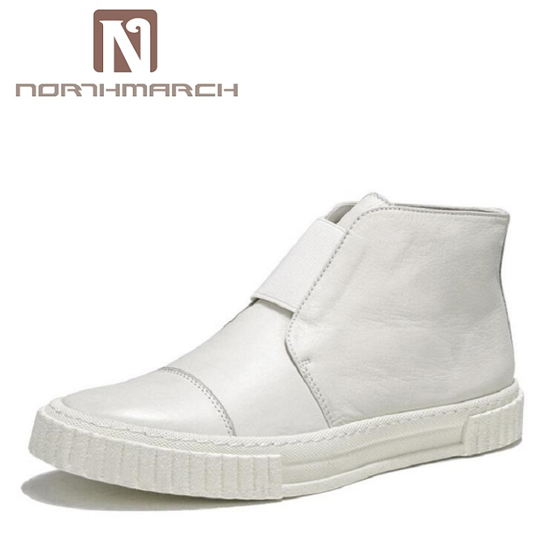 NORTHMARCH High Quality Men Sneakers Classic White Men Shoes Solid Winter Casual Shoes Flats High Top Handmade Shoes Sapatenis