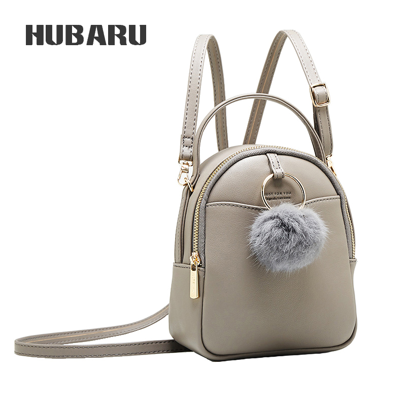 HUBARU Fashion Women High Quality Travel Portable Bag Girls School Cute Pompom Mini Light Female Shoulder Bag Handbag
