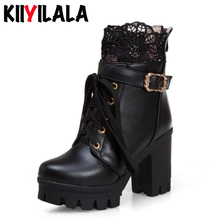 Kiiyilala Back Zipper Cross-tied Platform Boots Square Heels Women Fashion With Lace Round Toe Ankle For Shoes