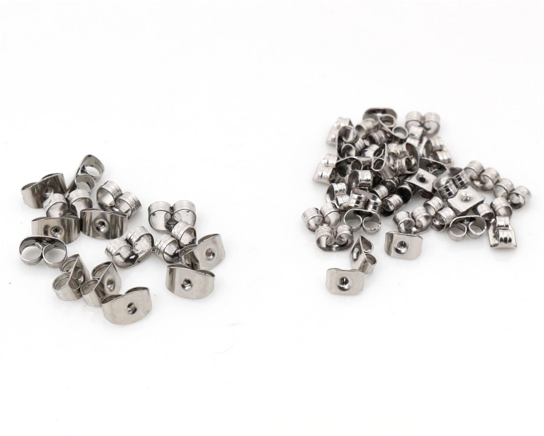 100pcs/Lot High Quality Stainless Steel Earring Back Plug Earring Settings Base Ear Studs Back Earring Stopper Whole Sale