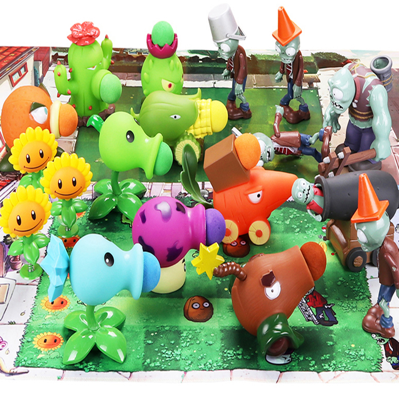 Action Figure Plants VS Zombies Toys For Children PVZ Squeeze Launch Model Plant Vs Zombie Figurine Novelty Gag Toy For Gift D