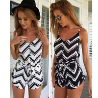 2017 summer Womens Sexy Backless Sleeveless Geometric Printed Button Jumpsuit Rompers Playsuit woman hot sexi combinaison femme