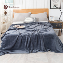 Liv-Esthete Fashion Gray Flannel Blanket Summer Sheet bed cover Sofa Throw Queen King Size Coral Fleece Blankets 1PCS
