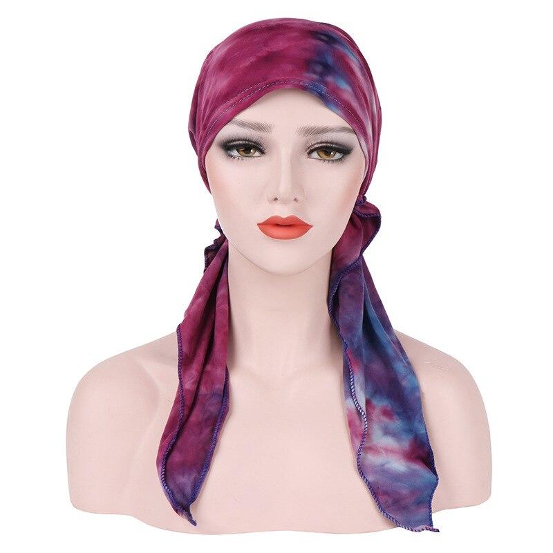Image 4 - Мягкая шапка тюрбан для женщин, предварительно связанный шарф,  хлопковая шапочка при химиотерапии, шапки бандана, головной платок,  повязка на голову, аксессуары для волос с ракомЖенские аксессуары для  волос