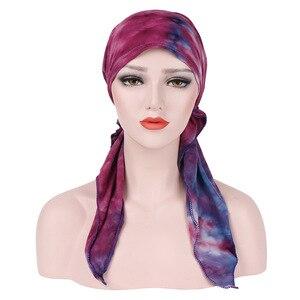 Image 4 - Мусульманская женская мягкая шапка тюрбан, предварительно связанный шарф, хлопковая шапочка при химиотерапии, шапка, бандана, головной платок, повязка на голову, аксессуары для волос с раком