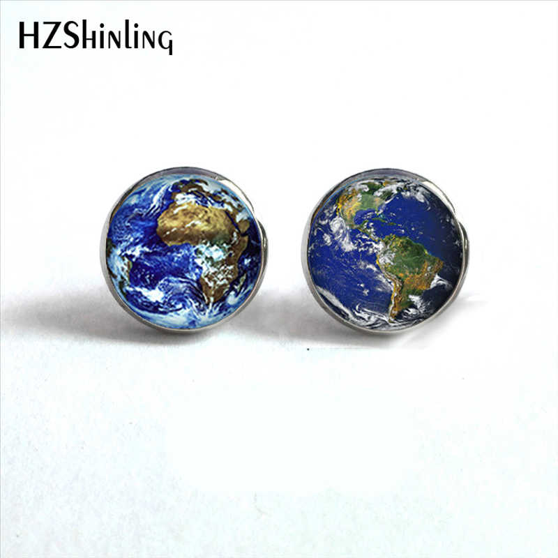 NES-0047  World Earth Studs Earrings World Map Glass Earrings Globe Jewelry World Earth Stud Earrings For Woman Men HZ4