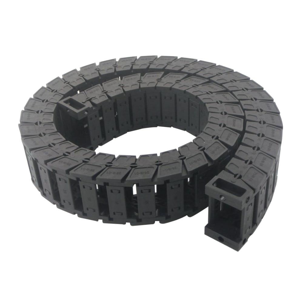 Transmission Chains 25 x 38mm Internal Size 1M Length Mute Plastic Reinforced Nylon Towline Cable Drag Chain 4pcs lot  internal size  6x6cm