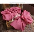 Estilo de moda Marca designer Cachecóis e Xales Longo Cachecol 100% Lenço de Seda Quadrado Rosa Escuro Winter Warmer Blanket Envoltório para as mulheres