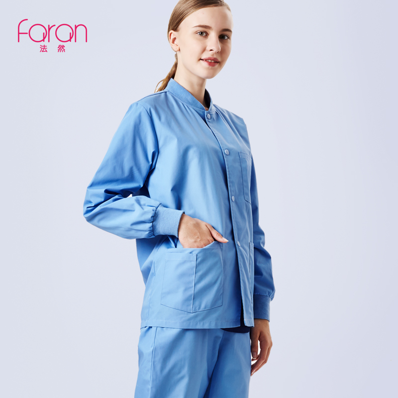 Faran Long Sleeve Nursing Uniforms for Women Medical Clothing Scrubs Top beauty salon Surgical Suit dental clinic Jacket Coat