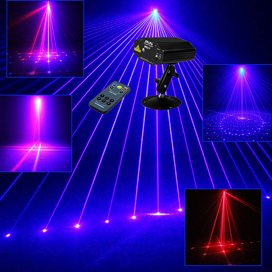 Mini Remote 9 Patterns RB Led Stage Laser Lighting Sound Active Equipment Effect Disco DJ Light Home Party Lights ir remote mini 24 gobo rg led blue stage laser lighting equipment effect disco dj light home party lights luces discoteca