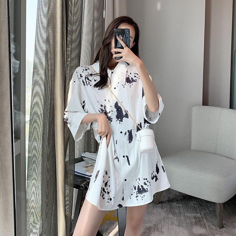 Grande taille Blouse taille femmes mode coréenne chemises Long surdimensionné trois quart vache impression noir et blanc conception de piste