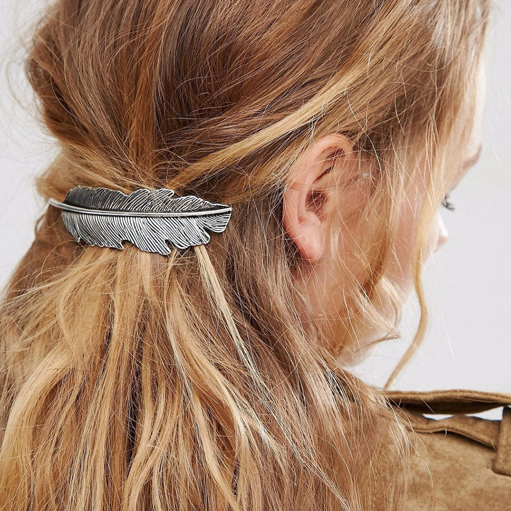 Pretty  Large French barrette hair clip vintage boho rustic hair accessory new
