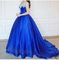 Cenicienta vestido de Bola Vestidos de Quinceañera Debutante Crystal Puffy 2017 Vestidos de Baile Royal Blue Beads Masquerade Pageant Vestido FR1