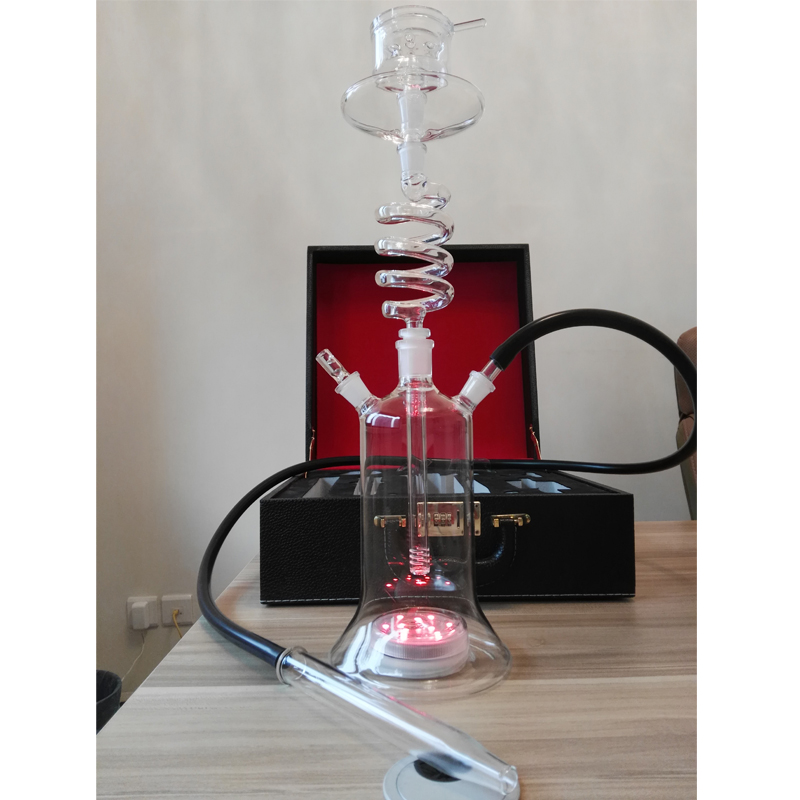 led spiral glass shisha hookah leather bag suit case spain cachimba chicha twirl tube smoking narguile