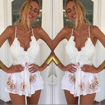 2017 Women Dress Backless Ladies Club Wear Bodycon Party Romper Bodysuit Lace Patchwork Floral Print White Sling Mini Vestido