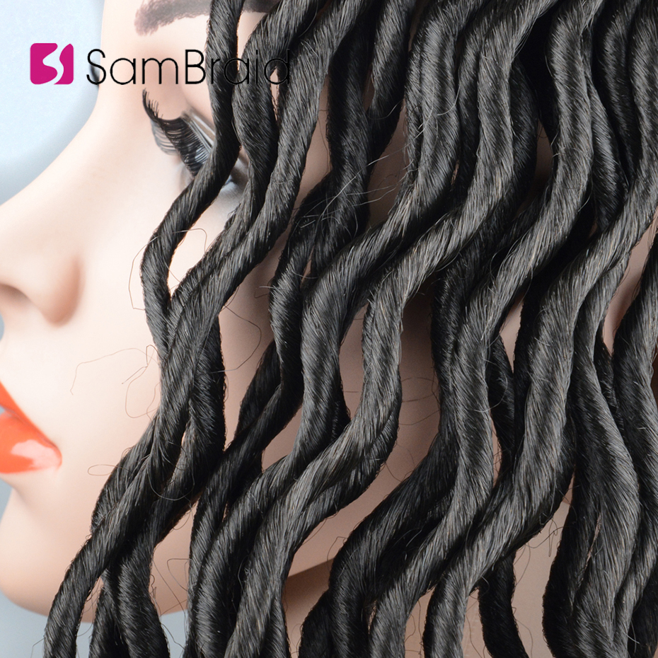 SAMBRAID Crochet Hair Extensions Faux Locs Curly Crochet Braiding Hair Synthetic Hair Ombre Braids 24root/pack 18inch For women