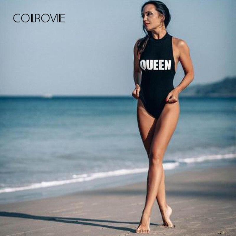 COLROVIE Mock Neck Racerback Bodysuit Black Sexy Skinny Women Letter Print  Slim Bodysuits Summer Sleeveless Brief Bodysuit-in Bodysuits from Women s  ... 5a4d83f05
