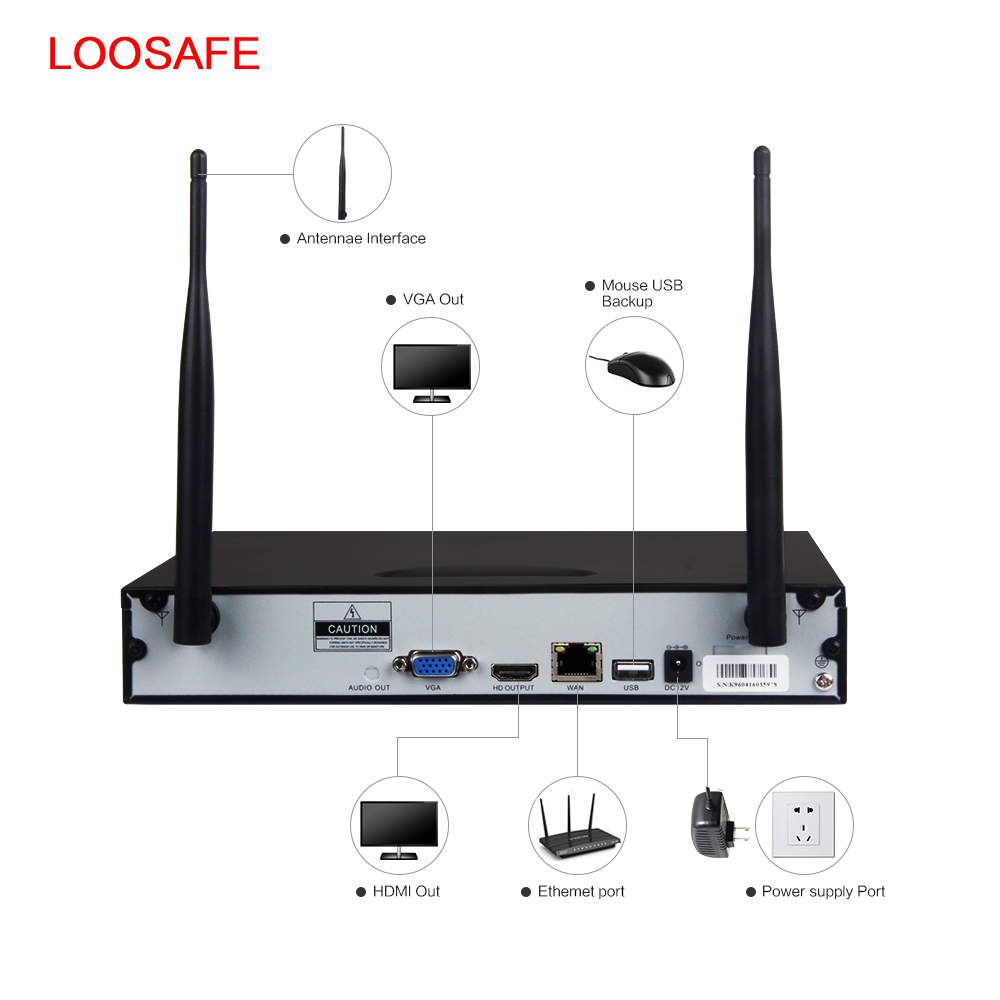 LOOSAFE HD 960P Outdoor Surveillance Camera System 8CH NVR Kit ...