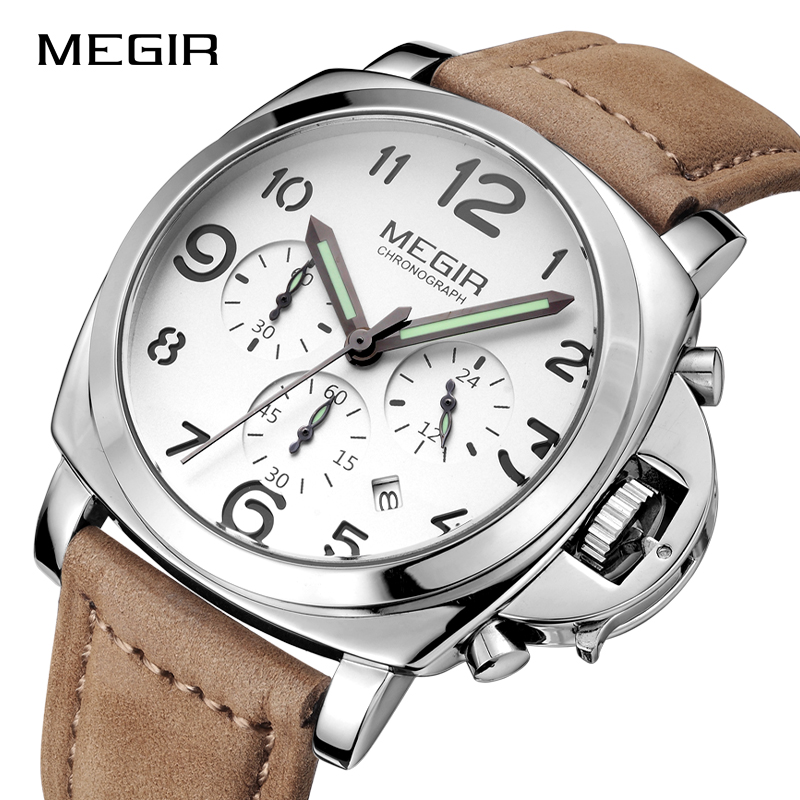 MEGIR Men Big Dial Military Sports Watches Fashion Luxury Brand Watch Men's Quartz Wristwatches Male Clock Relogio Masculino ot01 watches men luxury top brand new fashion men s big dial designer quartz watch male wristwatch relogio masculino relojes