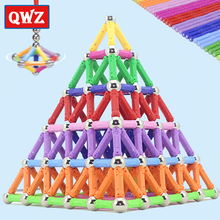 QWZ 280-50pcs Magnet Bars Metal Balls Kids Magnetic Building Blocks Construction Educational DIY Toys Intelligence Toy Creation 5mm 216pcs buliding educational cube blocks anxiety stress toys gift new year magnet with metal box disc magnet