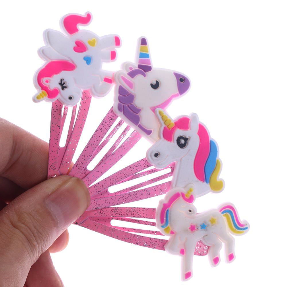 4 Colors Glitter Unicorn Kids Baby Hair Clips Cartoon Animal Hair Clips Cute Plastic Hairpins Bobby Pin Hair Styling Tools
