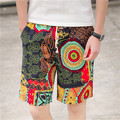 Men's shorts new tide floral flax leisure beach loose shorts straight men fashion shorts