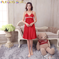 Sexy Femme Long Red Nightgown Women Solid Color Silk Night Gown Sleeveless Strap V-Neck Above Knee Nightgowns Sleepshirts Dress