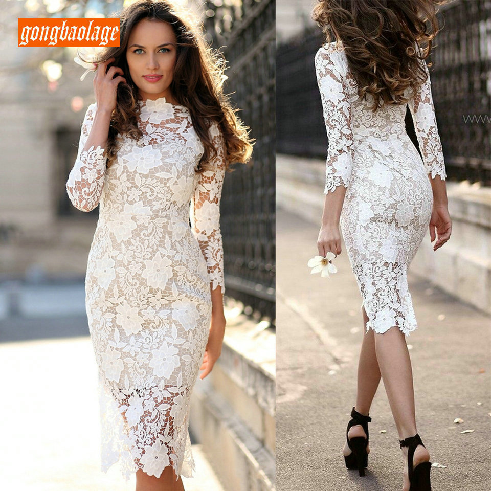 Fashion Women Ivory Lace Short Evening Gowns 2019 Sexy Banquet Prom Dresses Scoop Zipper Straight Tea Length Casual Party Dress