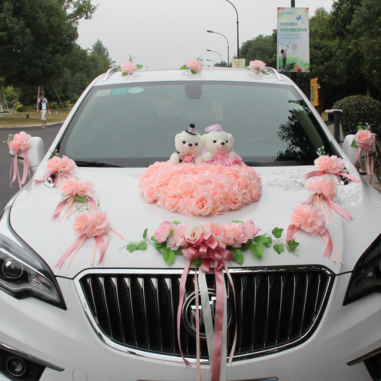 2019 décoration de voiture de mariage fleurs fausses fleurs Rose avec ours fleurs de soie fête de mariage décoratif guirlande artificielle