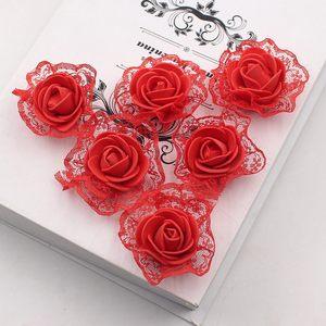 Image 1 - 20ピース造花pe発泡レースローズため結婚式の装飾diyスクラップブッキング手作りクラフトアクセサリー花輪花