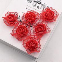Rosas de encaje de espuma de PE para decoración de boda, flores artificiales, bricolaje, accesorios artesanales hechos a mano para Scrapbooking, corona de flores, 20 Uds.