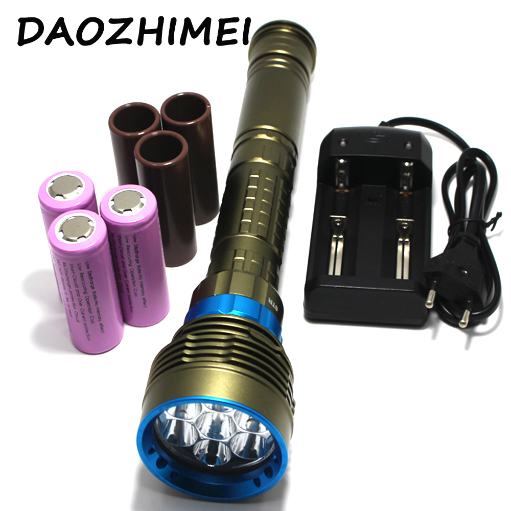 New SKYRAY diving led flashlight 14000Lm Diving 150M waterproof 7x XM-L2 LED Flashlight Torch + Charger + 3x 26650 BatteryNew SKYRAY diving led flashlight 14000Lm Diving 150M waterproof 7x XM-L2 LED Flashlight Torch + Charger + 3x 26650 Battery