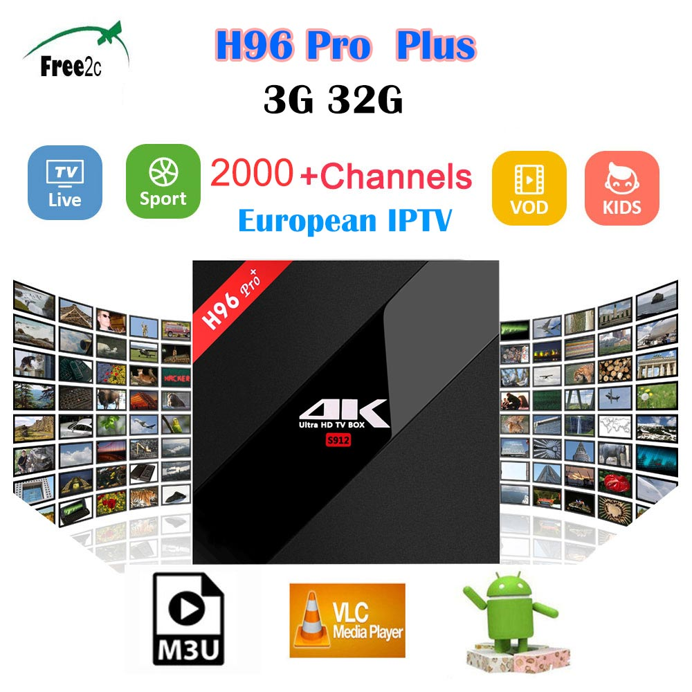 H96 PRO PLUS Android 7.1 TV Box BT4.1 4K  Amlogic S912 Octa Core 3G/32G H96 pro plus media player 2000+Live Europe French  IPTV promoitalia пировиноградный пилинг pro plus пировиноградный пилинг pro plus 50 мл 50 мл 45%