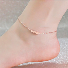 Rose Gold 3D Bar Anklet Custom Engraved Words Anklet 4 Sides Engraving Charm Personalized Women Jewelry