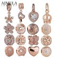 AIMELA 925 Sterling Silver with Rose Gold Plated Heart Daisy Butterfly Charms Beads For Jewelry Making Fit Pandora Bracelets DIY