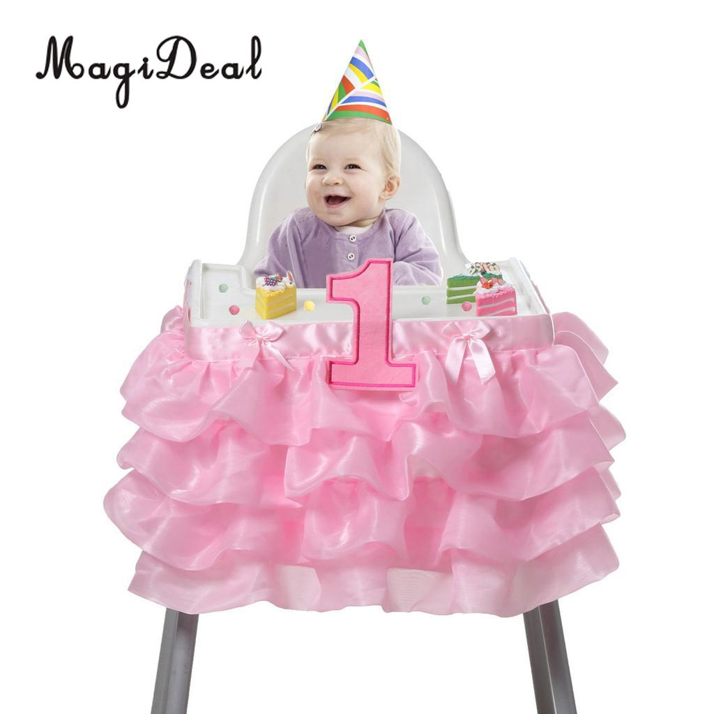 MagiDeal Baby 1st Birthday Highchair Tutu Skirt Bow Chair Cover Party Decor Pink/White/Rose